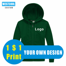11 Colors Thin Hoodie Custom Logo Embroidery Hoody Personalized Brand Text Photo Cheap Zipper Hoodie WESTCOOL