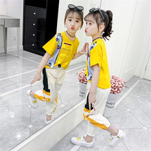 2020 Summer Children Sets Good Quality Girls #8217 fashion Sets Leisure sports Sets Age 4-12Y big Girls Clothing New Arrival cheap Ruralrat O-Neck Pullover COTTON Short REGULAR Fits true to size take your normal size geometric