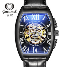 New 2019 Creative GUCAMEL Brand Luxury Mens Watch Fashion Trends SKULL Hollow Automatic Mechanical Men relogio masculino