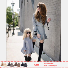 купить Fashion matching family outfits mom and daughter dress Solid Full   mother and daughter clothes big sister little sister Dresses по цене 587.48 рублей