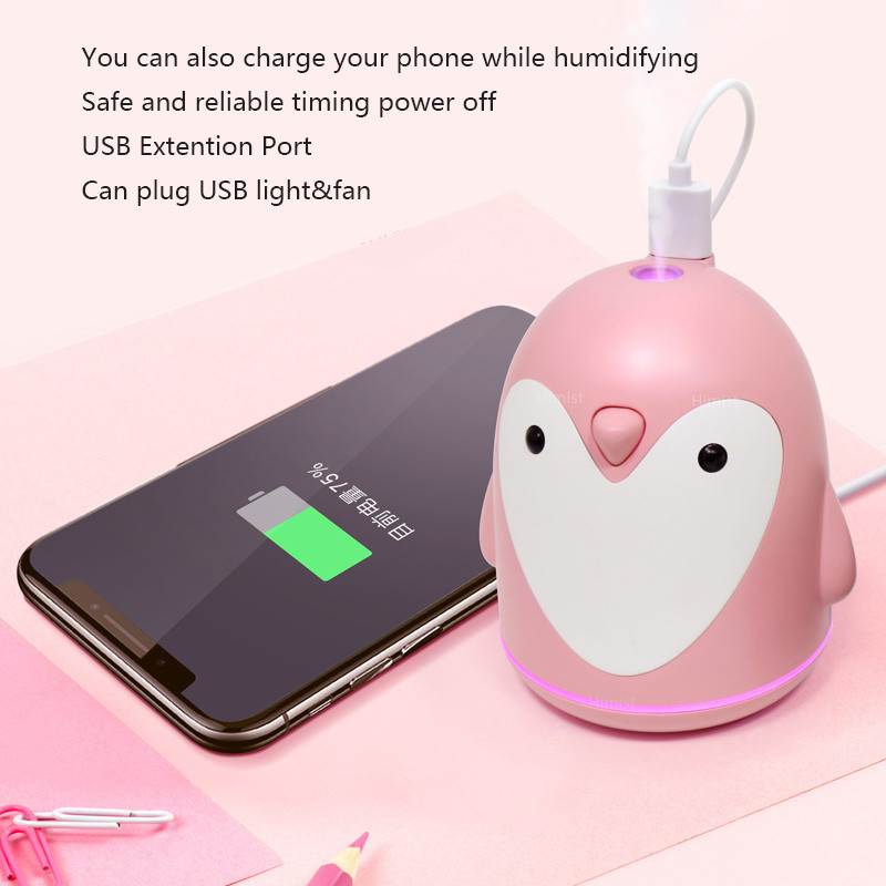 ELOOLE USB Ultrasonic Air Humidifier Penguin Aromatherapy Diffuser Air Mist Maker Aroma Humidification For Home Car Office