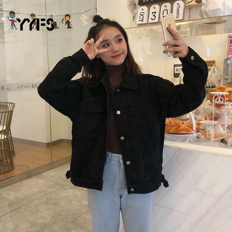 Women Casual Black Solid Color Denim Jackets Coat Women 2020 Spring Autumn Casual Turn-Down Collar Pockets Jeans Jacket Chaqueta