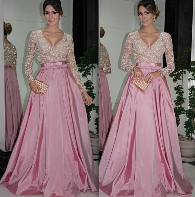 Pink And White Long Sleeve Prom Sexy V Neck Lace Formal Evening Gown Belt Elastic Satin A Line Women Mother Of The Bride Dresses