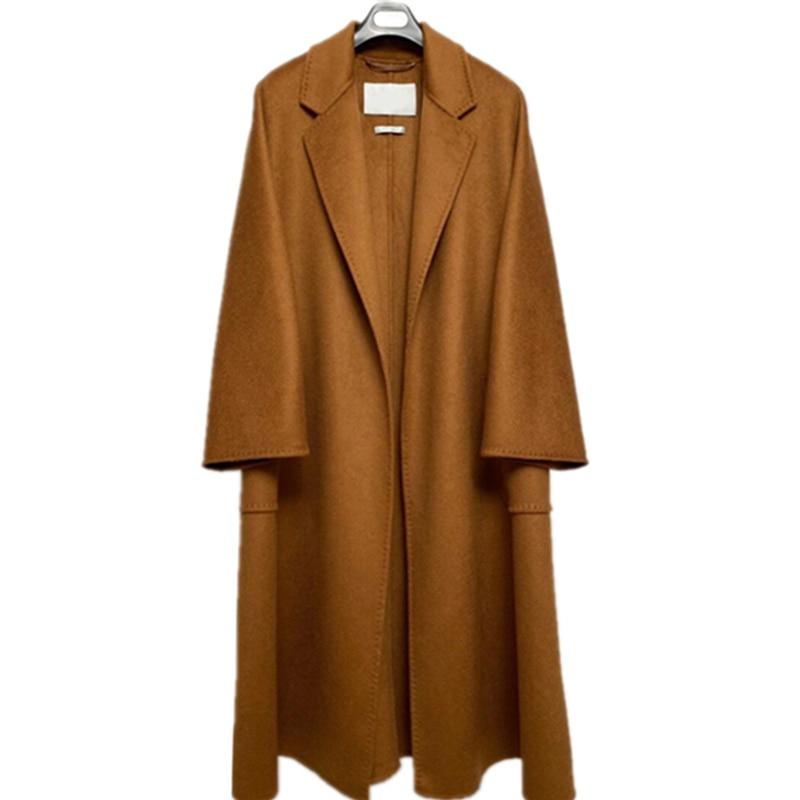 6865 Women Short Coat Dress Turn Down Collar Coat Long Sleeve Belted Asymmetric Hem wrap Coat