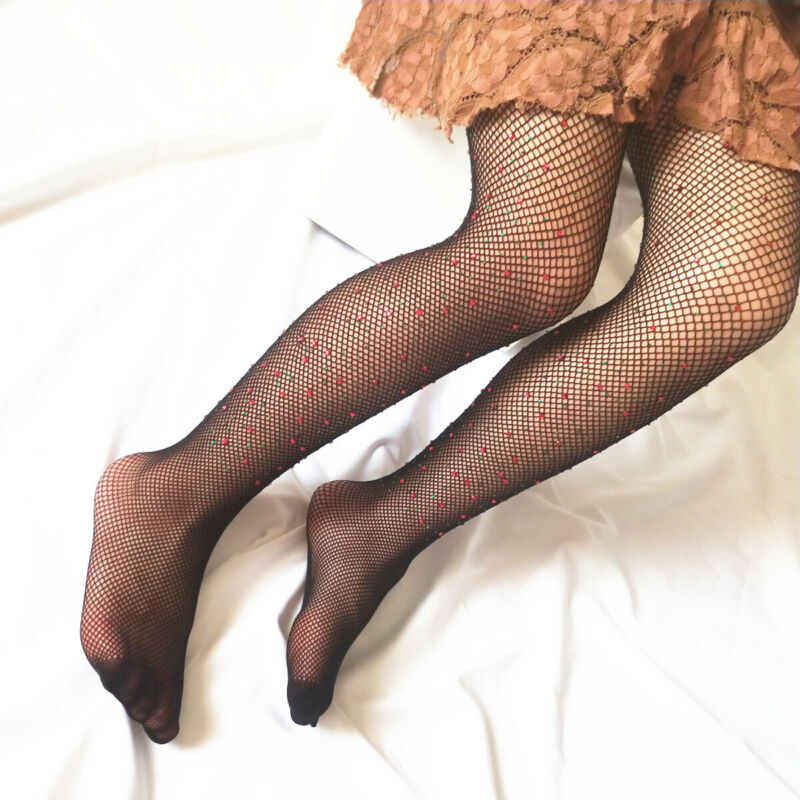 Fashion Party Kids Baby Girls Tights Rhinestone Mesh Fishnet Net Pantyhose Tights Stockings Girls Children Cute Socks