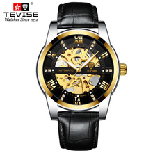 TEVISE Fashion Brand Mens Automatic Watches Men Leather Strap Skeleton Mechanical Wristwatch Relogio Masculino 2017 shenhua gold hollow automatic mechanical watches men luxury brand leather strap casual vintage skeleton watch clock relogio