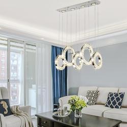 Populaire diamant anneau Led cristal pendentif lumière moderne Led cercles suspendus lampe Foyer salle à manger éclairage décoration de la maison Ing