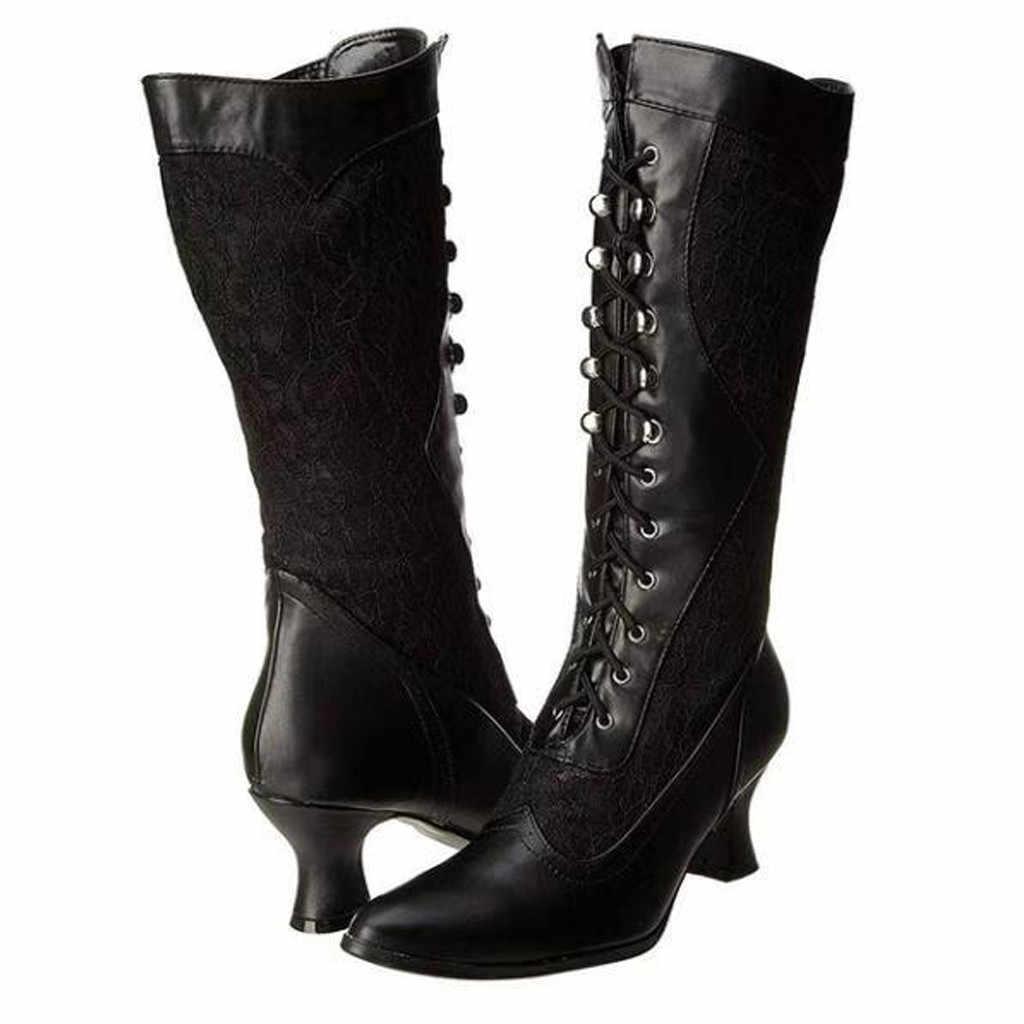Damskie białe koronkowe buty za kostkę na wysokim obcasie koronka szpiczaste buty z palcami kobieta kolana wysokie długie buty boczny zamek błyskawiczny buty w połowie rury