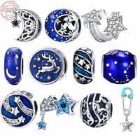 BISAER 925 argent Sterling étoiles bleues lune flocon de neige Perles étoiles Perles breloques ajustement femmes bracelets porte-bonheur argent 925 bijoux