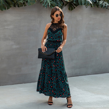 2020 New Summer Women Dress Floral Printed Boho Maxi Elegant Ladies Beach Sundress Sexy Hollow Out Lace vestidos Q30