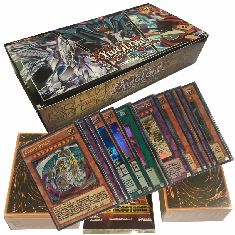 100PCS Yu Gi Oh Anime Around English Version Flash Card Battle Cards All Flash Cards Collection Don't Repeat Child Gift Toy