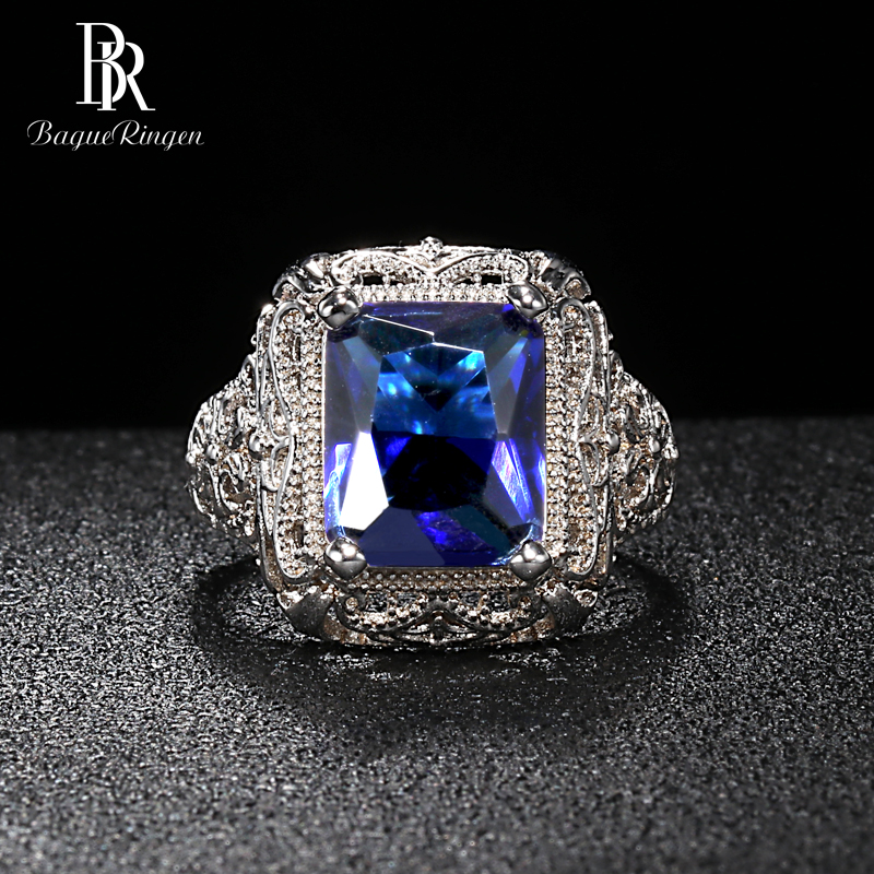 Bague Ringen Luxury Design Silver 925 Jewelry 9*12mm Gemstones Ring for Women Geometry Sapphire Engagement Size6,7,8,9,10 Gift