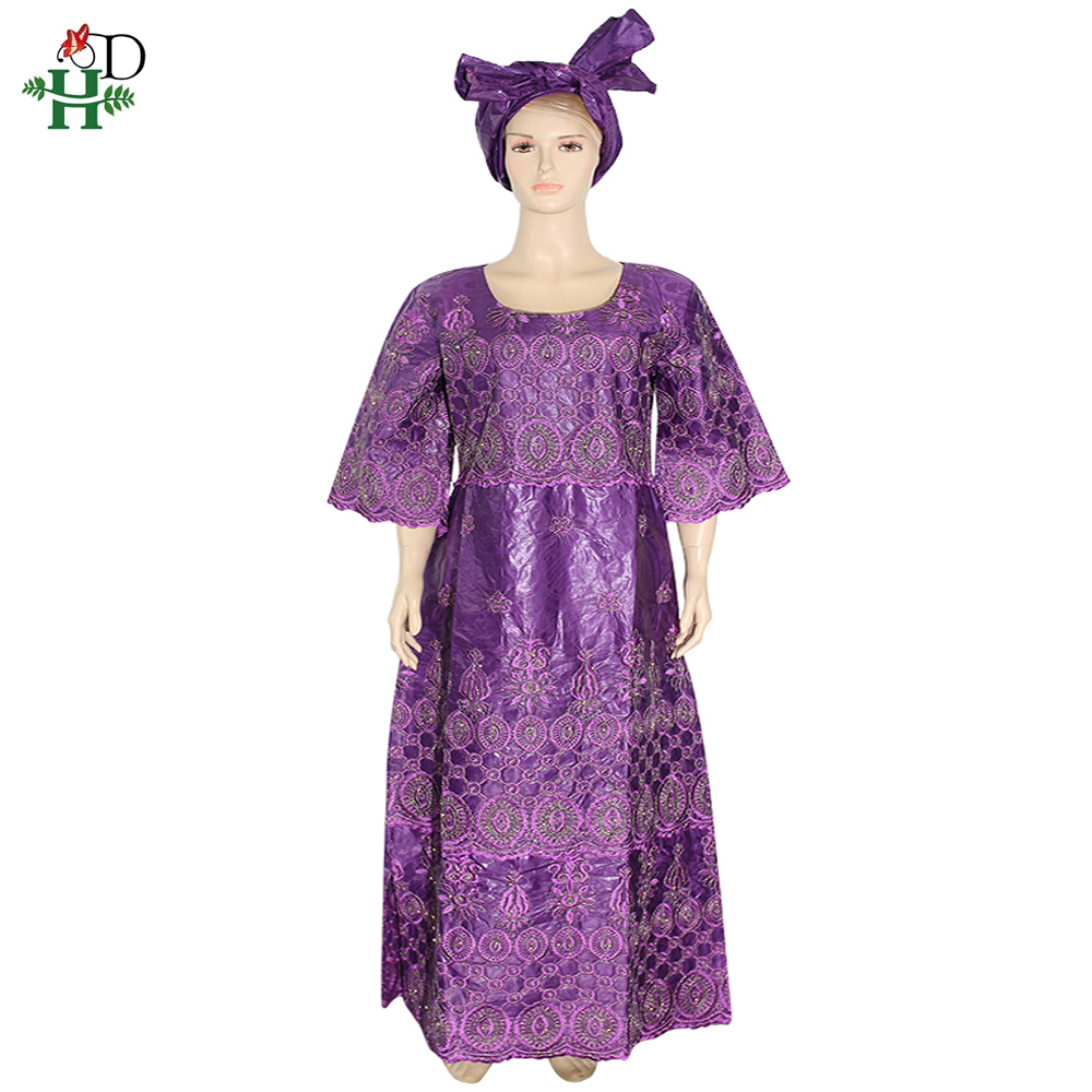 H&D African Outfits For Women Plus Size Ankara Dresses Embroidered Beaded Maxi Dress Nigerian Gele Headtie Vetement Femme 2019