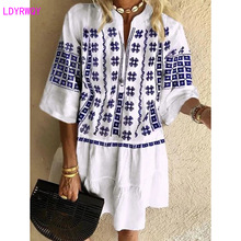 2019 Autumn new European and American fashion womens stand collar loose casual ethnic style print dress