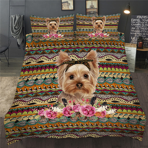3D Bedding Set Dog Flower Rose Print Single Double Animal Bed Linen Twin Full Queen King Duvet Cover Set Children Adults Bedroom