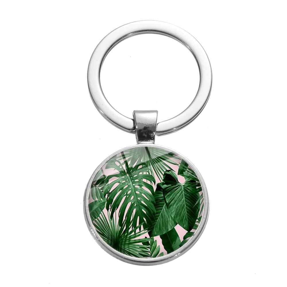 Flamingo zielone rośliny brelok liście palmowe kwiaty ptak sztuka obraz szkło Cabochon breloczek kobiety urok do torby samochodu Chaveiro