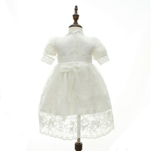 Image 5 - HAPPYPLUS Snow White/Ivory Baby Girl Christening Dress Gown Set Embroidery Baptismal Outfits Formal Baby Dresses Birthday 1 Year