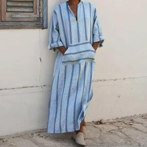 Oversize Muslim Long Robes Islamic Breathable Cotton Clothing Vintage Pockets Loose Robe Men Arabic Islamic Fashion Gown Striped