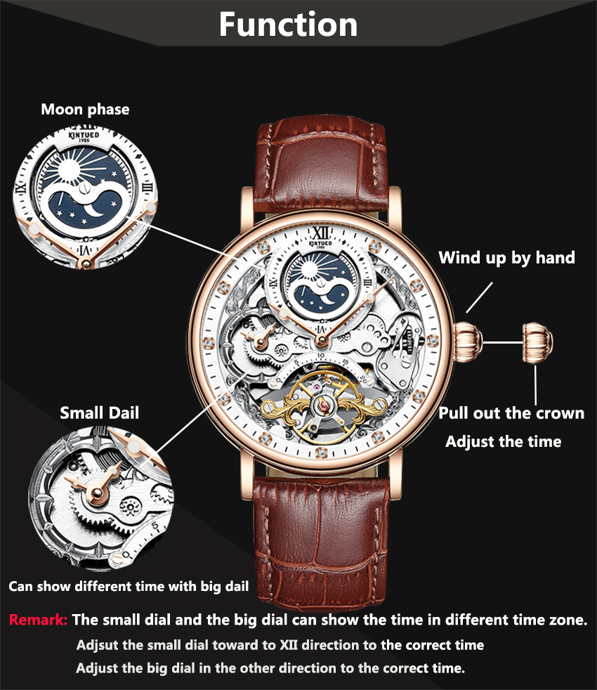 H17eab1ebdd3f444189e583e6cc7e12485 KINYUED Skeleton Watches Mechanical Automatic Watch Men Tourbillon Sport Clock Casual Business Moon Wrist Watch Relojes Hombre