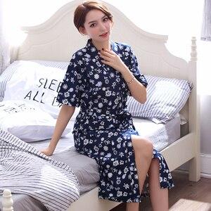 Image 1 - Robe Womens Summer Short Sleeves Bathrobe Plus Size Bath Robe Belted Women Kimono Lavender Floral Cotton Lingerie Kimono Robes