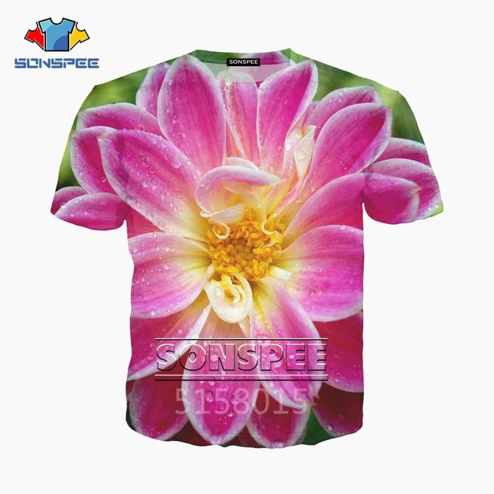 SONSPEE hermosas flores Harajuku 3D impreso hombre mujer ropa camiseta de hip-hop unisex moda camiseta top tees streetwear XK95a