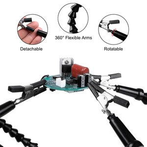 Image 3 - Toolour Soldering Station with 4pc Flexible Arms Soldering Iron Holder Third Helping Hand Tool PCB Welding Repair Welding Tool