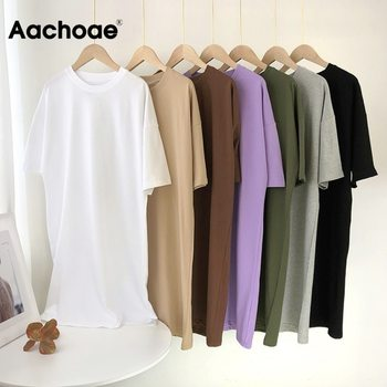 Aachoae Women Casual Loose Solid 100% Cotton T Shirt Dress O Neck Mini Dress Batwing Short Sleeve Basic Dresses Vestidos 1
