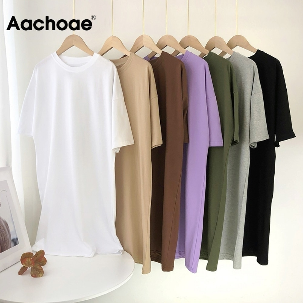 Aachoae Women Casual Loose Solid 100% Cotton T Shirt Dress O Neck Mini Dress Batwing Short Sleeve Basic Dresses Vestidos
