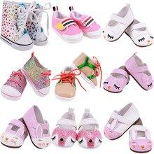 Boneca bonito sapatos 7 cm de alta qualidade para 18 Polegada americano boneca menina brinquedo 43 cm bebê recém-nascido roupas acessórios nossa geração