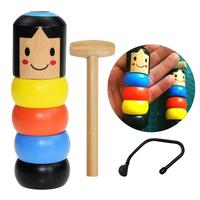 Kids Fun 1set Immortal Daruma Unbreakable Wooden Man Magic Toy Magic Tricks Close Up Stage Magic Props Accessory Comedy Toy