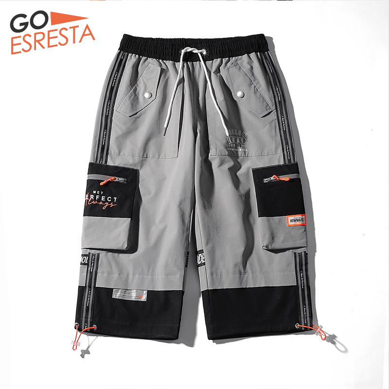 GOESRESTA Men's Shorts Trendy Sports Loose Reflective Casual Shorts Men's Seven-point Big Pocket Street Clothing Tooling Shorts