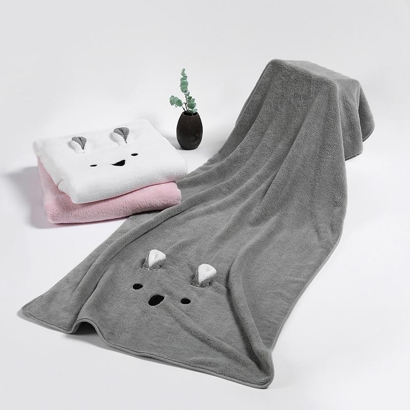 75x150cm portable serviette de bain microfibre tissu serviette ménage salle de bain serviette mignon oreilles de lapin femmes serviette de bain