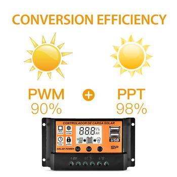 Controlador de carga de energía Solar 10-100A MPPT PWM, Panel de carga de batería de coche LCD, Controlador USB Dual, regulador de 12V, cargador 2.5A