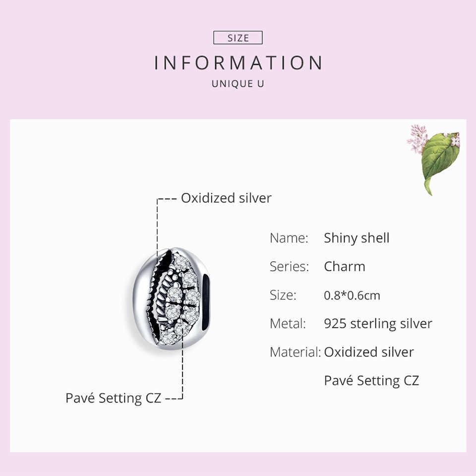 Bamoer sparkling concha contas de metal para pulseira 925 prata esterlina claro cz charme caber original diy pulseira 2020 nova scc1535