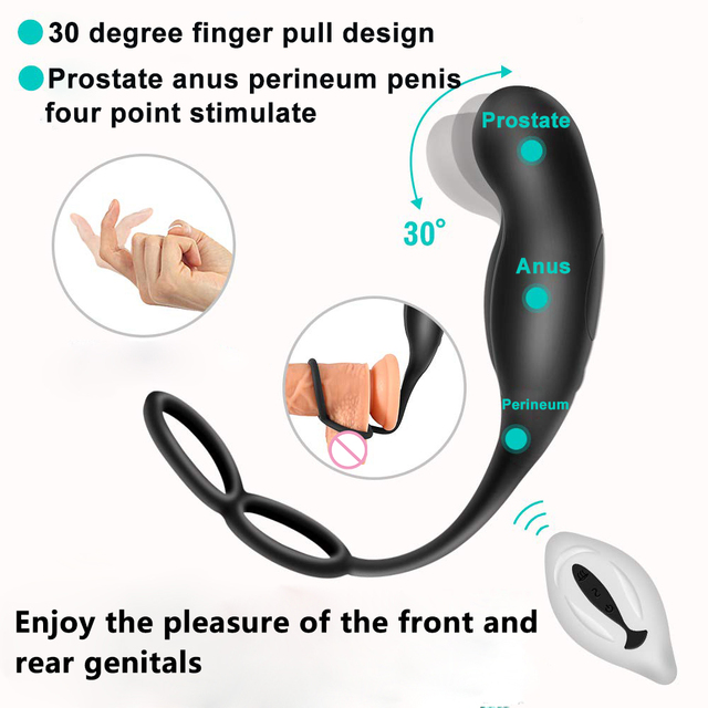 Male Prostate Massage Vibrators With Semen Lock Ring Anal Plug Wireless Remote Control Sex Toys for Men Gay Masturbator 3