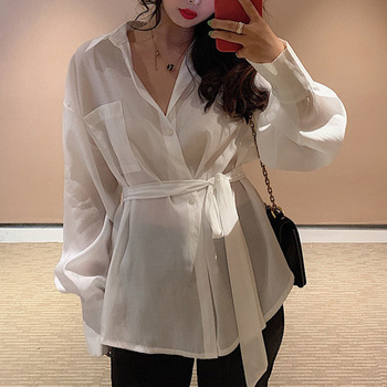 2020 New fashion Summer Tops Women Loose Lace Up Blouse Shirt Clothing Tunic Shirt Blouse Long Sleeve shirts Female hot hot sale sexy shirt new women solid lace cold shoulder long sleeve slim blouse top shirts 2019 elegant shirt female clothes