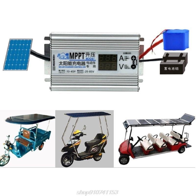 mppt painel solar celulas carregador controlador 10a impulsionador ajustavel 24v 36 48v 60v 72v baterias regulador