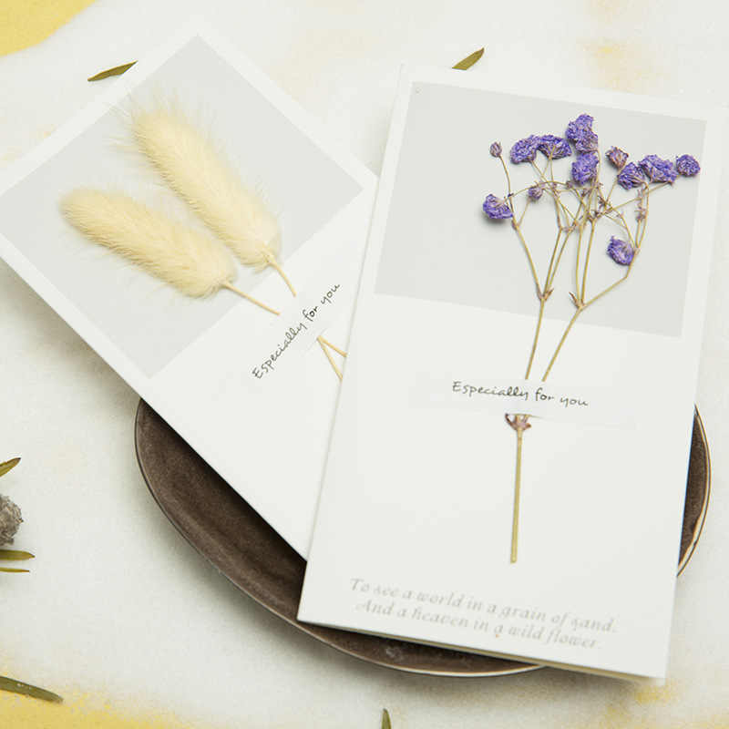 MissYe Store 1pcs Birthday Dried real Flowers Invitations Postcards DIY Wedding Party Festival Greeting Card Decoration