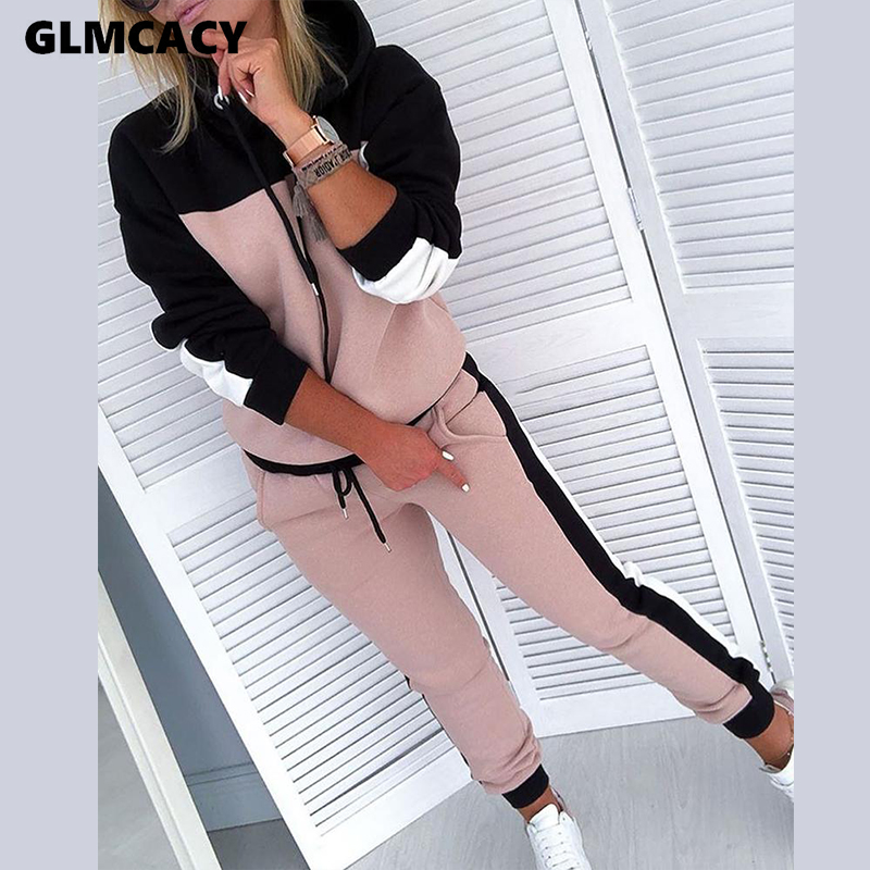 Women Two Piece Matching Sets Colorblock Drawsting Design Hooded Top & Slinky Pant Sets Chic Comfort Sweatsuit