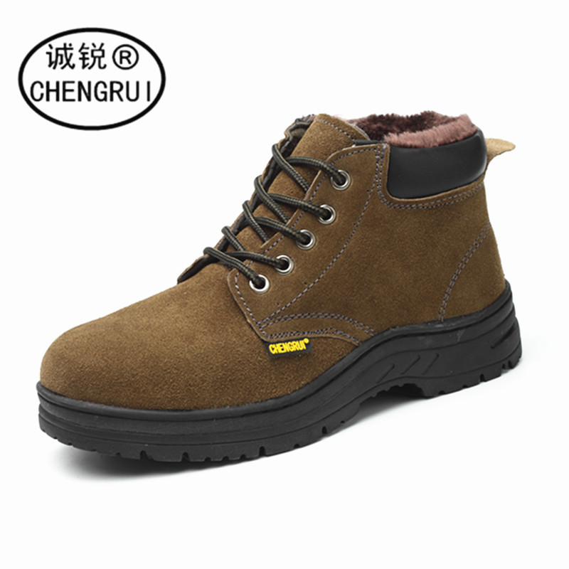 Winter Safety Shoes Cotton Plus Velvet Inside Anti-smashing And Anti-penetration Steel Head Wear-Resistant Acid And Alkali Resis