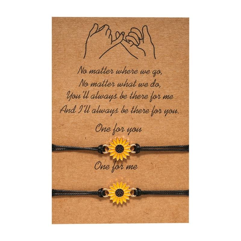Fashion Sunflower Bracelet Wax Cotton Cord Sunflower Charm Surfing Bracelet For Women Men Drop shipping In Stock
