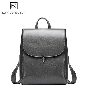 New Oil Wax Leather Women Backpacks Fashion Solid Simple Female Shoulder Bag Luxury School Bags Ladies Travel Bag Purse Mochilas