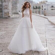 Halter uma linha de tule macio vestidos de casamento 2020 dentro do laço apliques frisado faixa sem mangas até o chão vestidos de noiva turquia