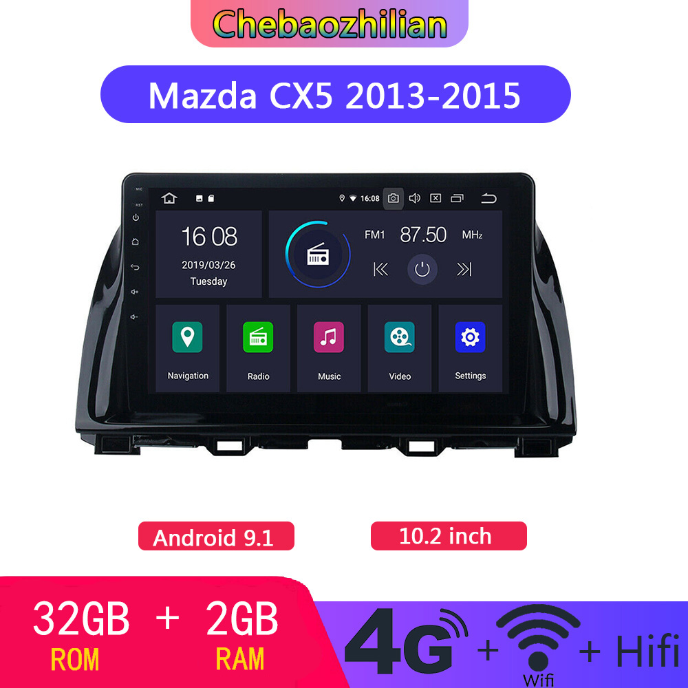 10.2 inch Android 9.1 Radio Stereo Car GPS <font><b>Navigation</b></font> For <font><b>Mazda</b></font> <font><b>CX5</b></font> 2013-2015 Head Unit multimedia Player WIFI Bluetooth image