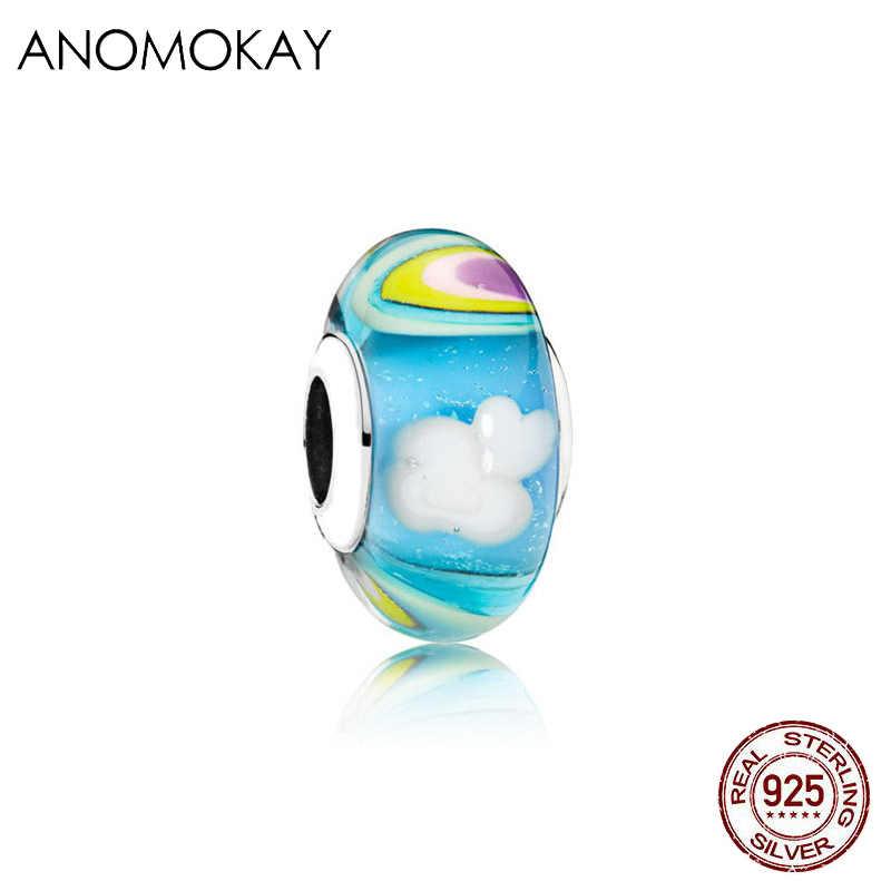 Mix stil 100% ayar 925 gümüş kalp gökkuşağı yıldız ay çiçek Murano kristal göz alıcı boncuk fit DIY Pandora bilezik bileklik