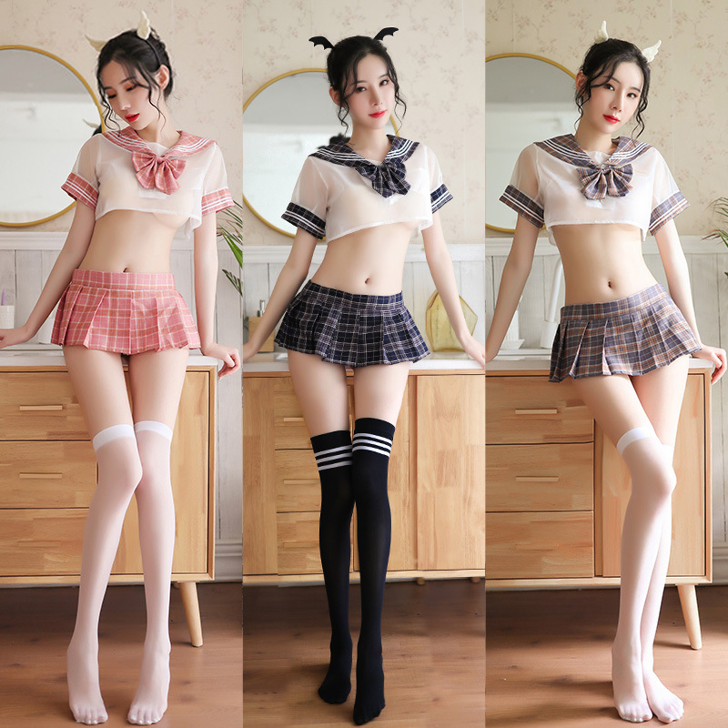 Perspective Women Babydoll Lingerie Set <font><b>Sexy</b></font> Cosplay <font><b>Japanese</b></font> <font><b>Schoolgirl</b></font> Student Plaid Uniform Costumes Outfit Exotic Sets image