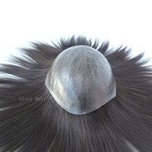 GLORYHAIR - 7-8 дюймовый инъекционный парик для кожи 0,08-0,1 мм ПУ Искусственные волосы заменяемые Мужские t-системы для мужчин