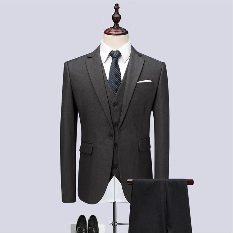 (Jacket+Vest+Pants) 2019 Men Suits Fashion Party Dresses Men's Slim Fit Business Classic Grey Wedding Suit Big Full Size M-6XL