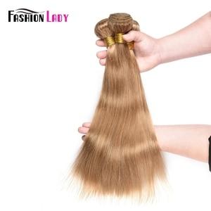 Image 5 - Fashion Lady Pre Colored Brazilian Hair Weave Bundles Blonde Human Hair Weave 27# Straight Hair Bundles Non remy