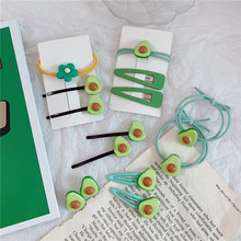 1Set High Elasticity Hair Bands Avocado Rope Cute Kawaii Side Clip Ins Fruit Ponytail For Women Girls Accessories Fash